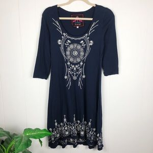 Johnny Was Embroidered Knit Dress